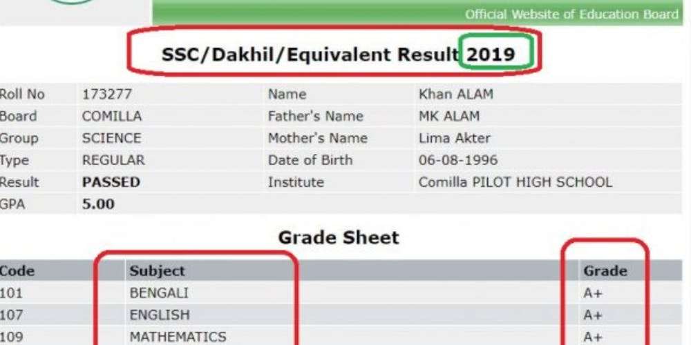 SSC Result 2019 Bangladesh With Full Marksheet Tickets, Fri