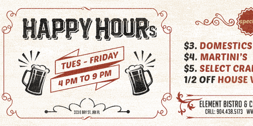 Happy Hour at Element Bistro & Craft Bar