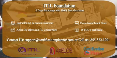 ITIL Foundation 2 Days Classroom in Montreal tickets