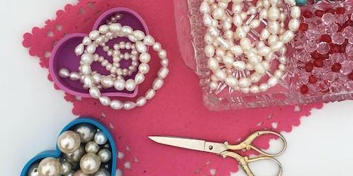 Adult's bead necklace jewellery workshop - crystals, pearls + semi precious stones
