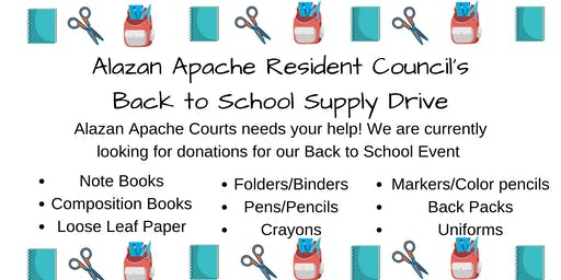 Alazan Back to School Supply Drive