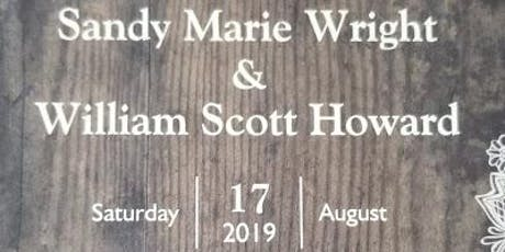 William Scott Howard & Sandy Marie Wright Wedding tickets