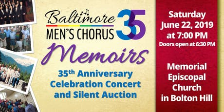 Memoirs: Baltimore Men's Chorus 35th Anniversary Celebration Concert tickets