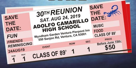 30th Reunion for the Camarillo High School Class of 1989  tickets