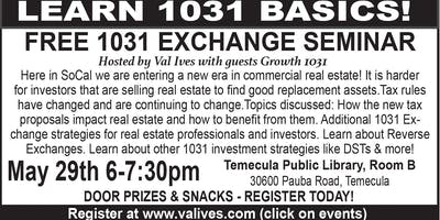 Real Estate Investing &1031 Tax Exchange Workshop with Val Ives