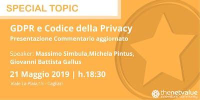 GDPR e Codice della Privacy: Presentazione Commentario aggiornato