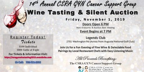 CSRA GYN Cancer Support Group 14th Annual Wine Tasting & Silent Auction - November 1, 2019 tickets