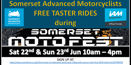 Free Taster of Advanced Motorcycle Riding with SAM at Moto Fest 2019