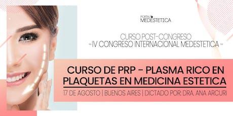 Curso de PRP - Plasma Rico en Plaquetas en Medicina Estética entradas