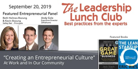 Sept 20 - Creating an Entrepreneurial Culture-At Work and In Our Community tickets