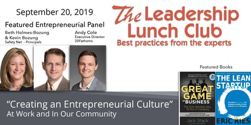 Sept 20 - Creating an Entrepreneurial Culture-At Work and In Our Community
