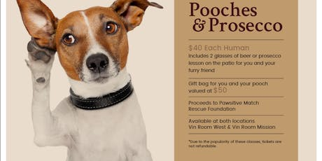 Pooches and Prosecco Training Classes - Vin Room West tickets