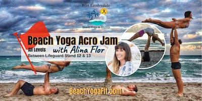 A Special Acro Yoga Beach Jam with Alina Flor, level 2 teacher