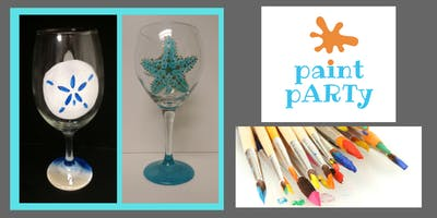 Paint'N'Sip Two Wine Glasses - Beach Sand Dollar&Starfish- $35 pp