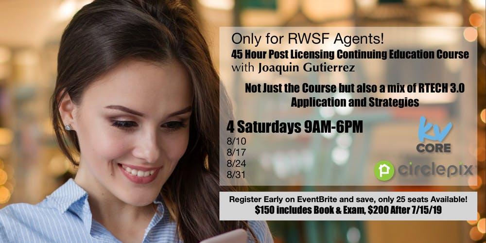 Rwsf 4 Saturdays 45 Hour Post Licensing Continuing Education Course