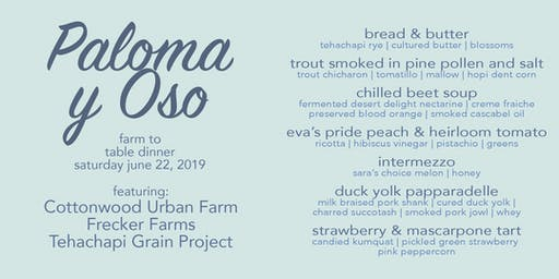 Cottonwood Urban Farm Dinner featuring Frecker Farms & Tehachapi Grain Project