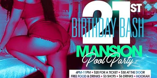 @1ravenchanel 21st birthday bash mansion pool party