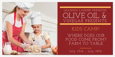 July 15-19 Kid's Camp: Where Does Our Food Come From? Farm to Table (Ages 7 to 10)