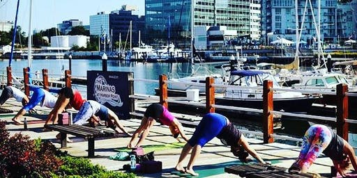 Yoga with Mantra in the Harbor Point Association Courtyard