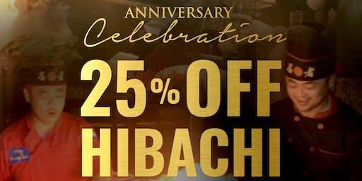 2-Month Hibachi Celebration 25% Off
