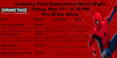 Cadence Park Elementary Movie Night-Food Preorder