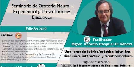 Seminario de ORATORIA NEURO – EXPERIENCIAL (Actividad arancelada) entradas