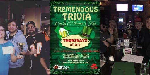 Tremendous Trivia Thursdays at Kelly O'Bryan's West Kelowna!