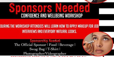 SPONSORS NEEDED FOR:   CONFIDENCE AND WELLBEING Workshop .