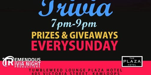 Sunday Night All Out Trivia at Tumbleweed Lounge, Kamloops!