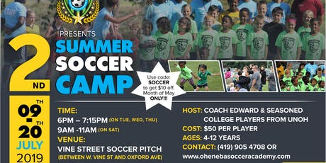 2ND ANNUAL OHENEBA SOCCER ACADEMY SUMMER CAMP tickets