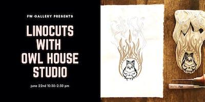 Linocuts Block Printing with Owl House Studio