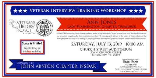 John Abston and Ann Jones' Veteran History Project Training Workshop