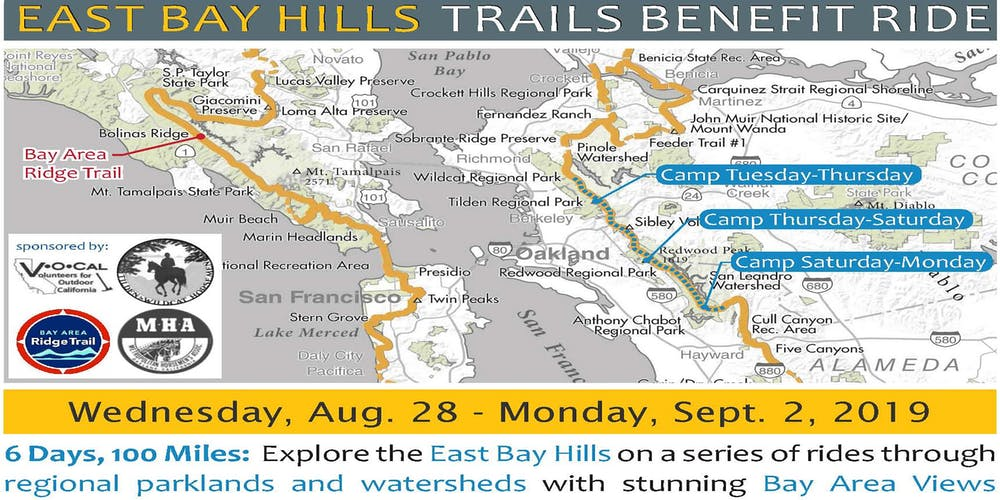 Map Of California East Bay.2019 East Bay Hills Trails Benefit Ride Tickets Wed Aug 28 2019
