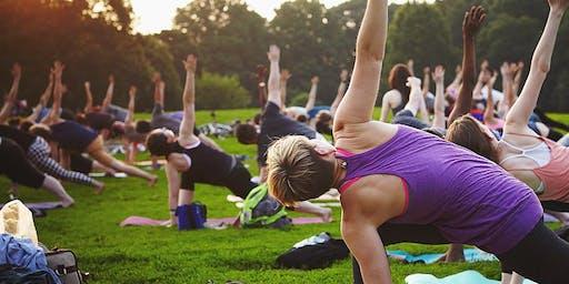 Lunch Time Outdoor Yoga at Railtown Park Edmonton