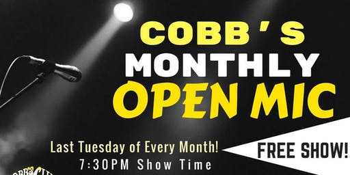 Cobb's Monthly Open Mic