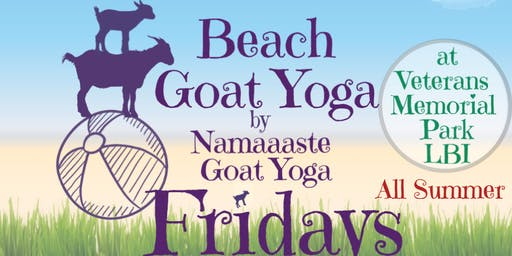 Beach Goat Yoga LBI Fridays 10am by Namaaaste Goat Yoga