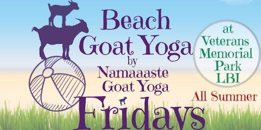 Beach Goat Yoga LBI Fridays 10am by Namaaaste Goat Yoga