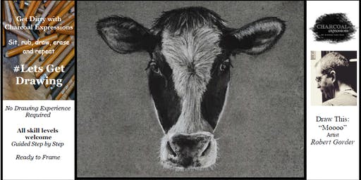 "Charcoal Drawing ""Moooo"" in Richland Center"