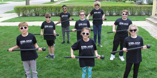 Steel Mace and bodyweight  exercise class for kids