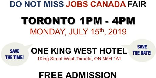 Free: Toronto Job Fair - July 15th, 2019