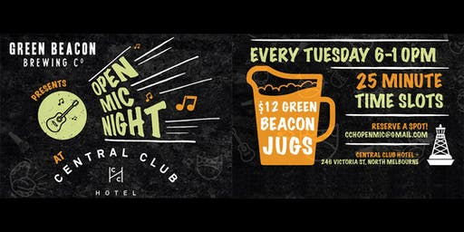 Open Mic Night - Tuesdays - Central Club Hotel, North Melbourne