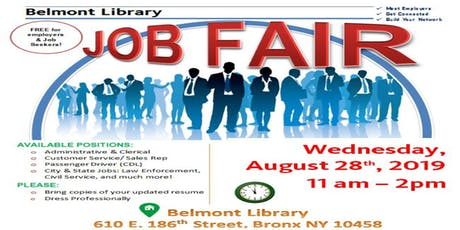 Belmont Library Job Fair- Wednesday, August 28th 2019 tickets