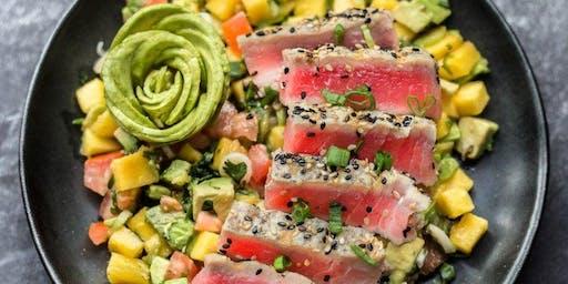 Healthful Cooking: Hawaiian Grilled Tuna with Yuzu Sauce & Orange-Avocado-Jicama Salad