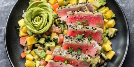 Healthful Cooking: Hawaiian Grilled Tuna with Yuzu Sauce & Orange-Avocado-Jicama Salad tickets