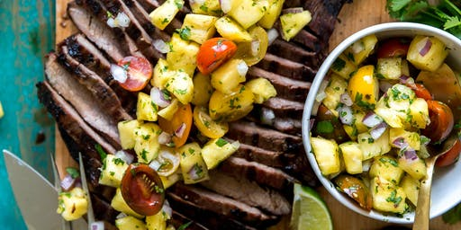 Regional Inspiration: Mexican Spice Rubbed Steak with Roasted Pineapple Salsa & Garlic-Cumin Black Beans