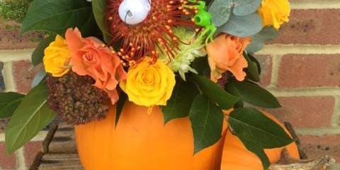 Halloween Pumpkin flower arranging