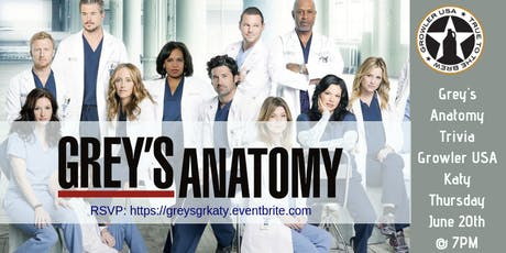 Grey's Anatomy Trivia at Growler USA Katy tickets