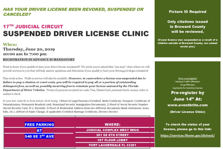 17TH JUDICIAL CIRCUIT SUSPENDED DRIVER LICENSE CLINIC - 20