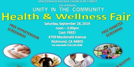 6th Annual Health & Wellness Fair - Unity in the Community tickets