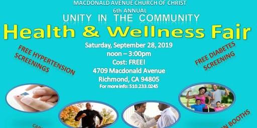 6th Annual Health & Wellness Fair - Unity in the Community